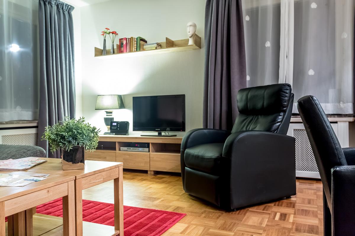 Zithoek in woonkamer appartement Michel